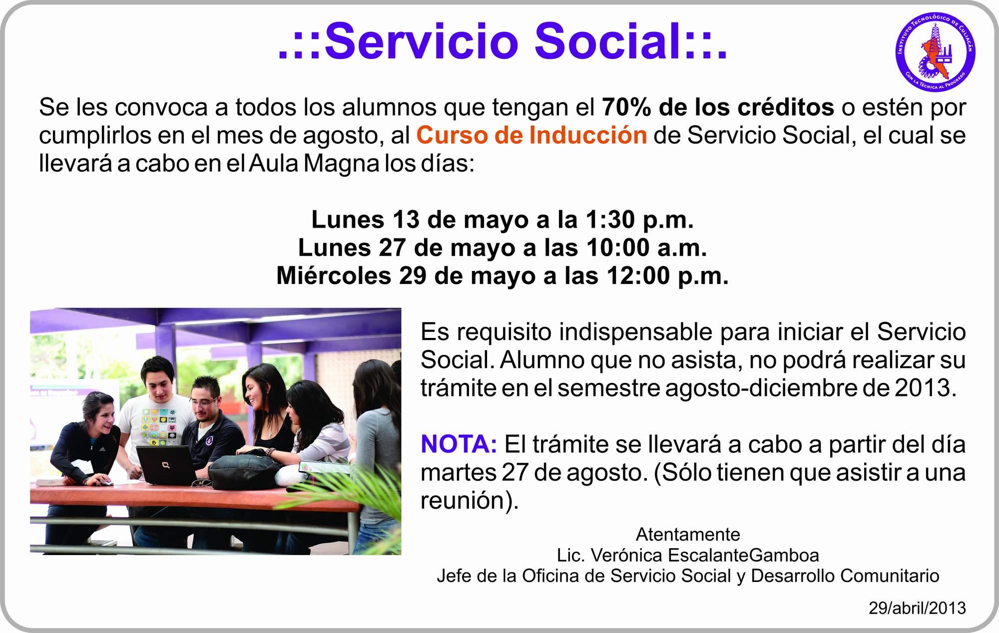 Inicio / CONVOCATORIA SERVICIO SOCIAL