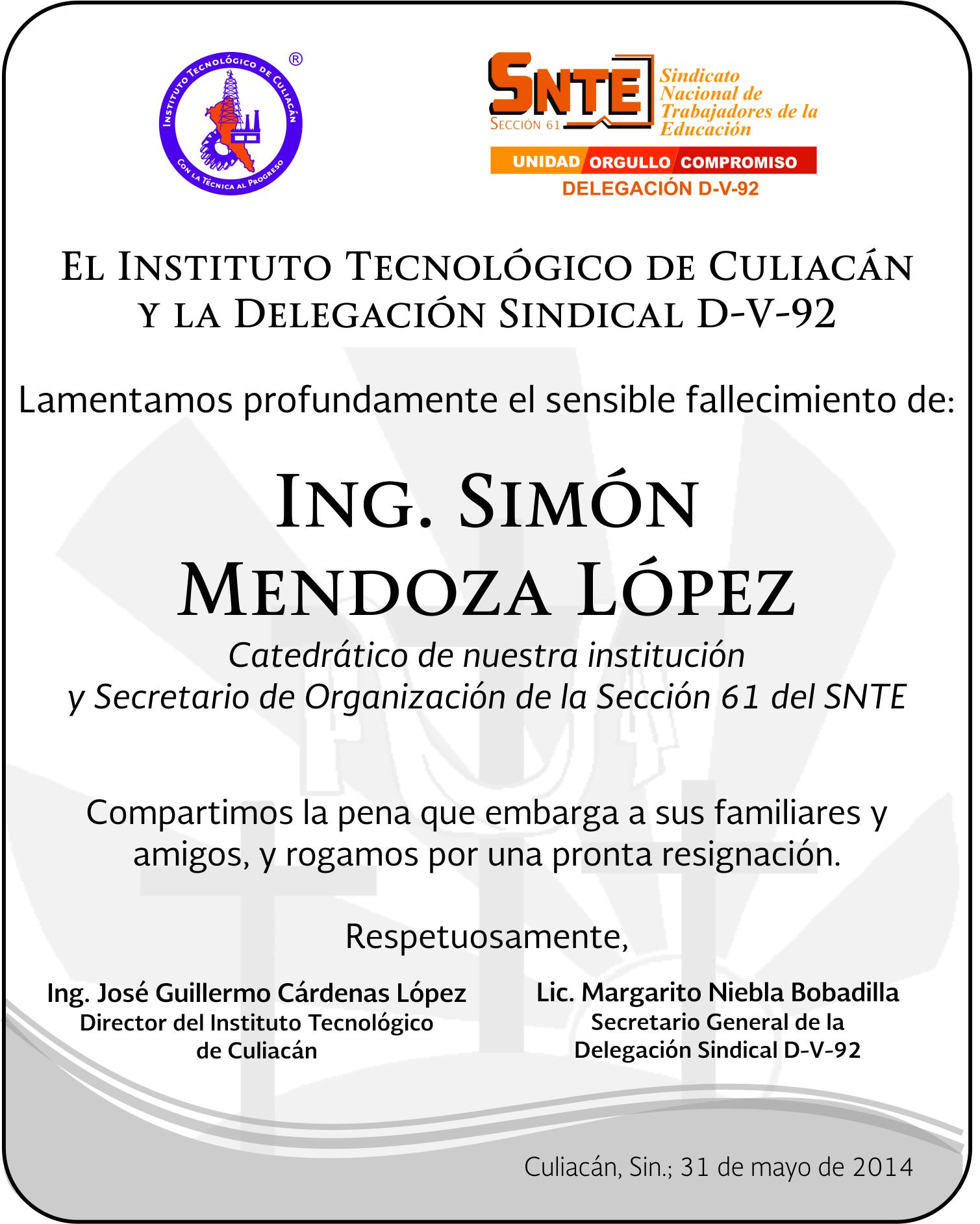 ESQUELA ING. SIMON DIRECCION </a> ... </p>                             <a href=