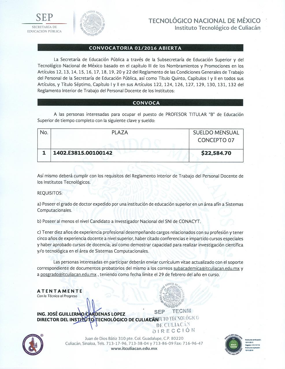 Instituto tecnol gico de culiac n participa en la Convocatoria para las plazas docentes 2016