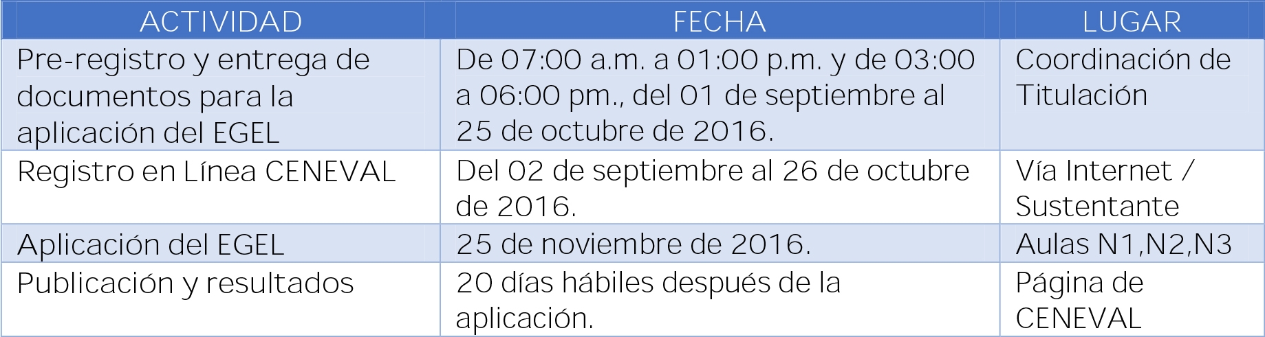 FECHAS EGEL NOVIEMBRE 2016