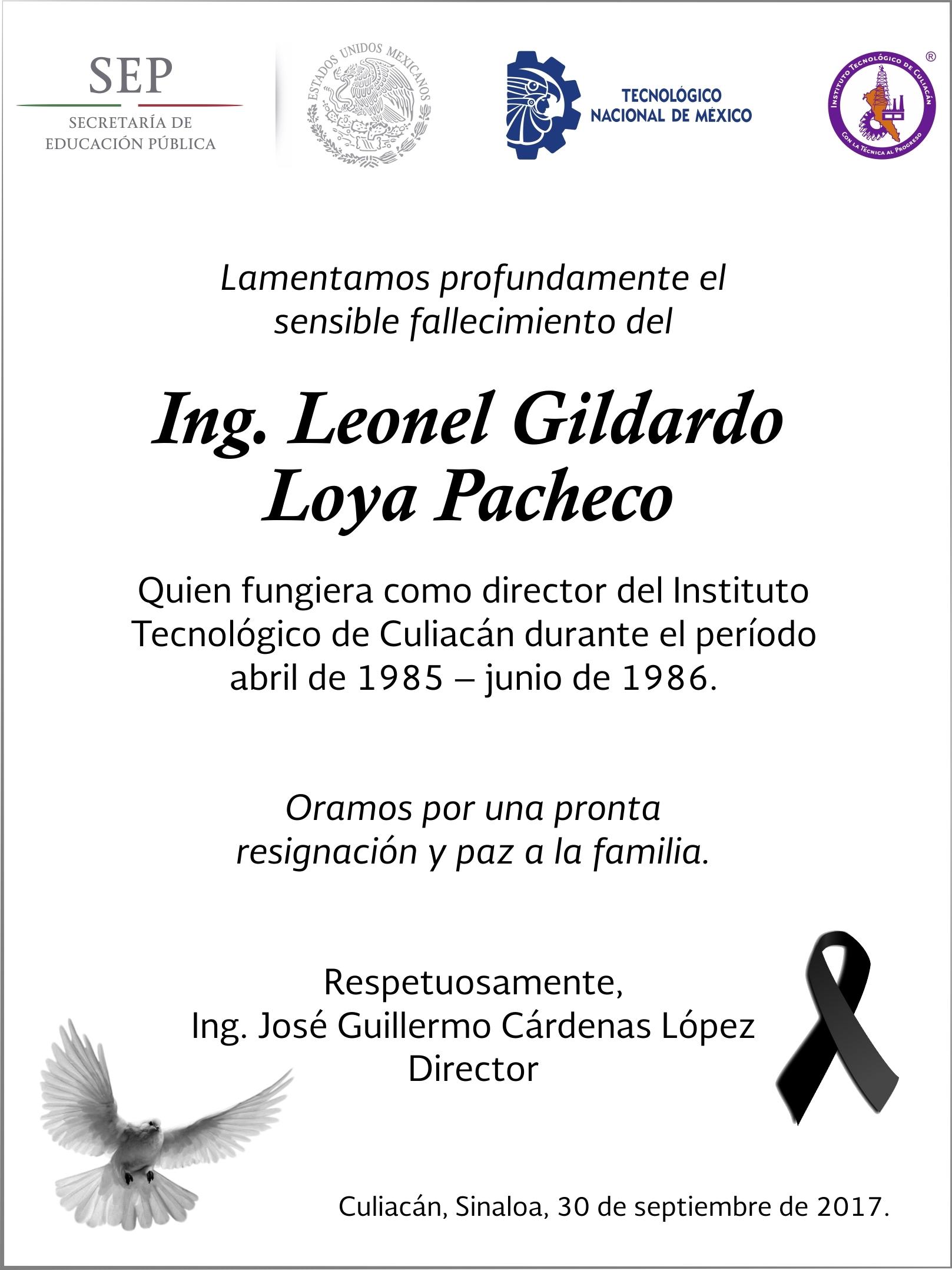 ESQUELA EXDIRECTOR LEONEL LOYA