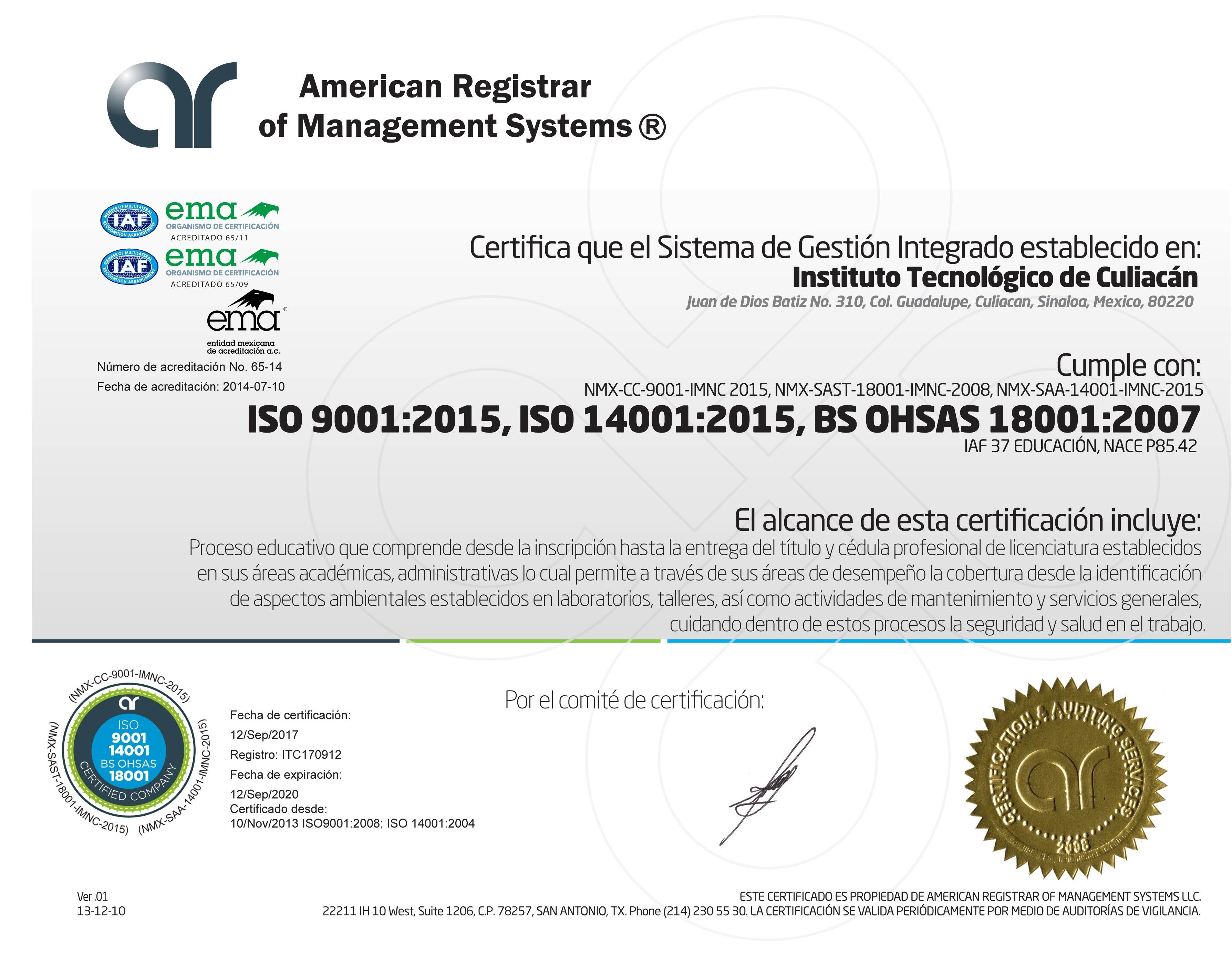 ARMS - Certificado 01.4 (SGI 9, 14,18) v 2015ITC R0