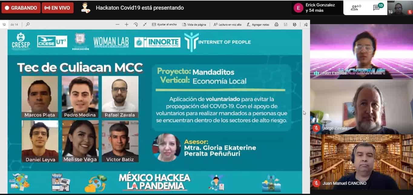 """Participan estudiantes del Campus Culiacán en el """"Hackathon: Podemos hackear la pandemia"""""""